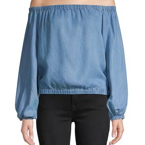7 For All Mankind Off the Shoulder Chambray